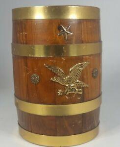 Vintage Wood Barrel eagle emblem COIN BANK