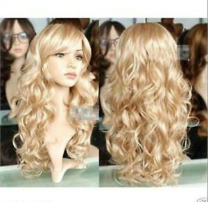 Fashion New Women Sexy Lady Long Wavy Curly Blonde Party Hair Full Cosplay Wig