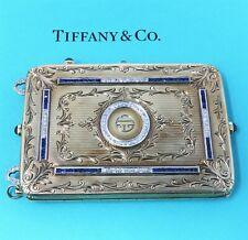 Nyjewel Tiffany & Co Art Deco 14k Gold Sapphire Diamond Mirror Compact 126g