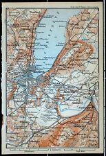 GENF  (Geneve) und Umgebung, alte Landkarte, datiert 1901
