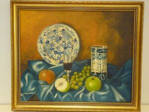 oil on board still life fruit, ceramics and glass signed M A Cole framed