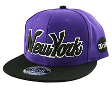 T.Headwear NEW YORK NY Script SNAPBACK Flat Peak Baseball Cap Snap Back One Size