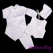4 Pcs White Baby Boy Satin Baptism Christening Long Suit Bonnet Size 3-6m ST020