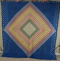 Large Vintage 30's Yo Yo Diamond in a Square Antique Quilt ~NICE BLUE BACKGROUND