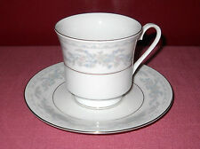 Vintage M Excel SOMERSET China CUP & SAUCER White Blue and Pink Floral Design ^