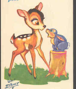 DISNEY SIGNED..BAMBI MEETS THUMPER,TOBLER CHOCOLATE ADVERTISING,VINTAGE POSTCARD