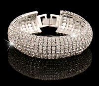 Charm Women Crystal Rhinestone Cuff Bracelet Bangle Jewelry Gift Fashion Hot