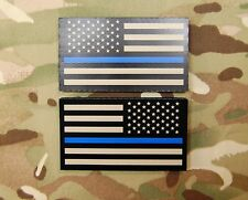 Infrared Thin Blue Line US Flag Patch Set Tan & Black Police SWAT SERT TBL IR