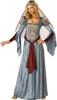 Ladies Long Blue Medieval Maid Marian Renaissance Fancy Dress Costume Outfit