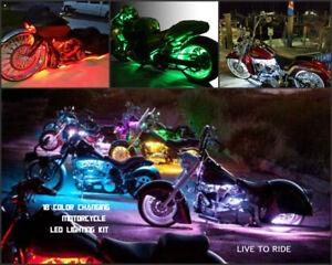 18 Color Change Led O.C. Choppers  12pc Chopper/Motorcycle Led Strip Light Kit