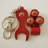 FIAT ABARTH Metallic Red Valve Dust Caps With Spanner all models 500 595 SPORT