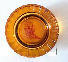 Harolds Club or Bust Reno Nevada Amber Glass Ashtray Red Covered Wagon Vintage