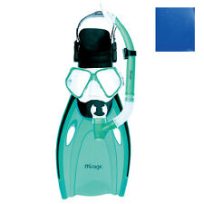 Mirage Nomad Adult Silicone Snorkel Package Includes Mask Snorkel Flippers BLUE