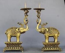 Royal Brass Copper Dragon Elephants Statue A pair Candlestick
