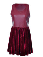 Ali-Market S/M Fit Red Faux Leather Velour Ice Skater Inspire Tank Top Dress