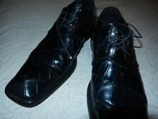 Mauri mens shoes genuen blk. aligator made in Italy lace shoes sz.8.5 M