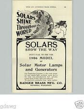 1905 PAPER AD Solar Brand Lamps Headlight Car Auto Automobile Badger Brass