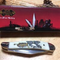 """Frost Steel Warrior Little Peanut Stag Bone Resin 2 3/4"""" Pocket Knife FSW107SBR"""