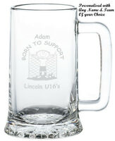 PERSONALISED Novelty Any FOOTBALL Team Glass Tankard Gift Ideas For HIM Fan Club