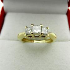 Anniversary 14k Yellow Gold 3-stone Princess Cut Natural Diamond 0.55 tcw Ring