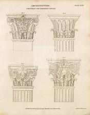 ANTIQUE Architecture Print - Rees' Encyclopedia 1800s #G310