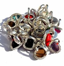 10PCS LOVELY RING MIX GEMSTONE JEWELRY 925 STERLING SILVER OVERLAY LOT!
