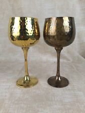 Two Vintage Brass HAMMERED Goblets - Made in India