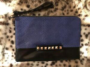 Atmosphere Large Zip Clutch Bag. Cobalt Blue / Black with Gold Studs