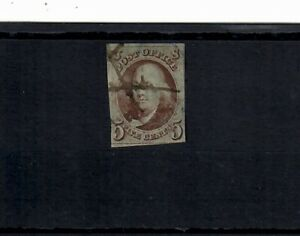 US Scott # 1 USED with PEN CANCEL;  SCV $190.00