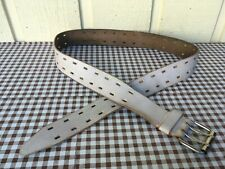 Handmade double prong genuine leather belt size 38.White painted
