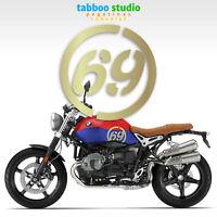 Cafe Racer stickers Custom moto numbers Scrambler numero adesivo oro