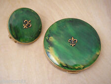 NOS Vintage Green marbled Bakelite top Compact Lipstick holder Set Fleur de Lis