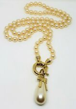 Ivory Hand Knotted Glass Pearl Necklace w/Changeable Pendant