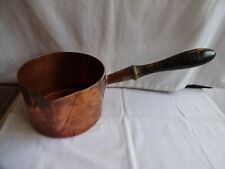More details for vintage copper pouring pan with wooden handle saucepan height 10cm diameter 16cm