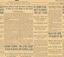 Original Newspaper AL CAPONE PLEADS GUILTY TO TAX CHARGES June 17 1931 B2