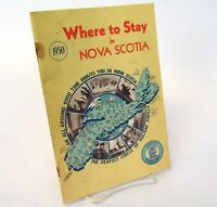 Antique 1950 Where To Stay in Nova Scotia Tourism Road Trip Map Guide Book