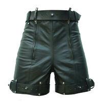 MENS  LEATHER BONDAGE / LOCKING CHASTITY SHORTS  Genuine Cow Leather