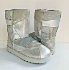 UGG CLASSIC SHORT GLITTER PATCHWORK SILVER SHEARLING BOOT US 8 / EU 39 / UK 6