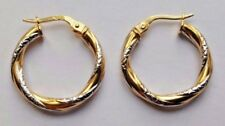 9ct Yellow & White Gold Creole Hoop Twist Earrings 1.2g *NEW* Wife Xmas Gift 375