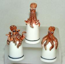 More details for klima miniature porcelain rust octopus on thimble uptight m121