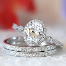 14K White Gold Diamond Trio Set Engagement Ring Certified 3.00 Ct VVS1 Oval Cut