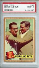 1961 Topps Baseball Babe Ruth Lou Gehrig Green Tint Variation #140 140A PSA 9