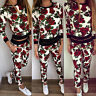 Women 2pcs Floral Tracksuit Hoodies Sweatshirt Pants Sets Sportswear Casual Suit