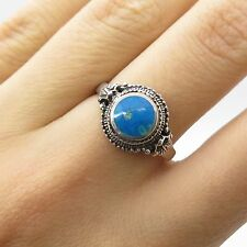 FAS 925 Sterling Silver Real Turquoise Gemstone Ring Size 7