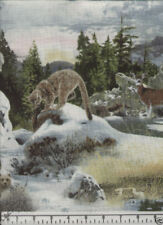 Snowy Silence SCENE Lion Bear Deer Quilt Fabric - 1 Yard