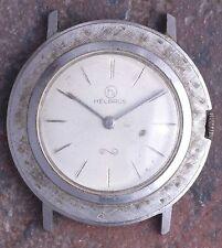 Helbros 70s Vtg Slim White Gold Pl Textured Bezel 17j Peseux 330 Parts/Restore