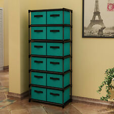 12 Drawers Storage Shelf Drawers tower Storage Chest with Non-woven Fabric Bins
