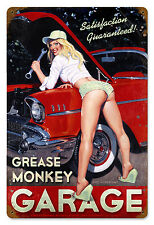 Grease Monkey Garage Pinup Greg Hildebrandt Giant Vintage Metal Sign Print