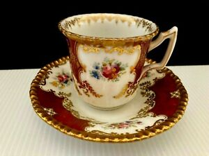BEAUTIFUL ANTIQUE DEMITASSE LIMOGES D&C FRANCE DEMITASSE CUP AND SAUCER