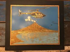 Vintage Dagupan Metal Engraving Mount Iraya Volcano Philippines Helicopter Nr